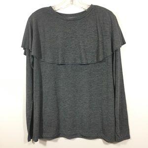 Zara Ruffle Neck Long sleeve Top Gray large